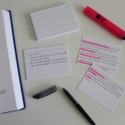 Leitner Flashcards A7 white lined in use