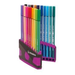 Stabilo Pen 68 Colour Parade 20 felt tip pens Pink Grey Case Open
