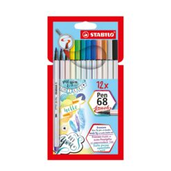 Stabilo-Pen-68-Brush-Felt Pens-12-Colours