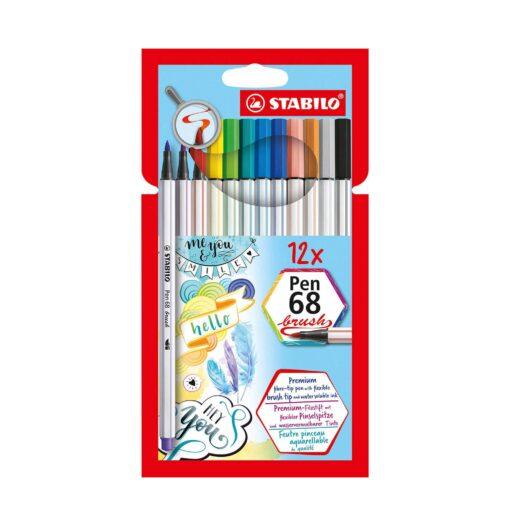 Stabilo-Pen-68-Brush-Felt Pens-12-Colours