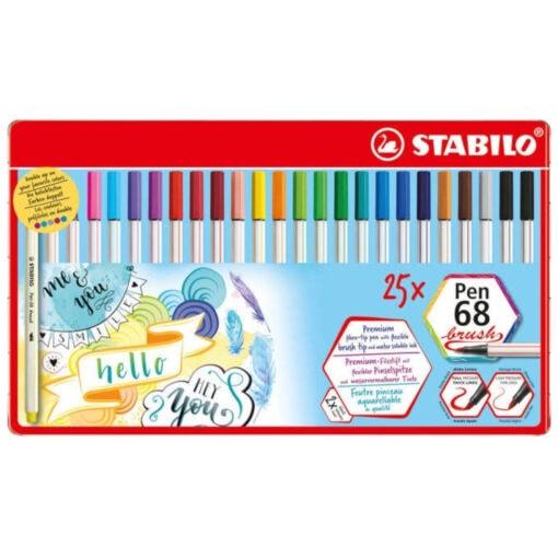 Stabilo Pen 68 Brush Felt Pens Metal Case 25 pieces